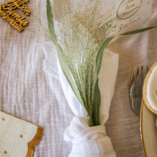 Chemin de table gaze de coton Blanc