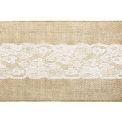 Chemin de table Jute Dentelle Central Blanc