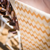 Chemin de table Lin Naturel Chevron Pailleté Rose Gold