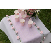 Chemin de Table Plumetis Rose Pastel Pois Or