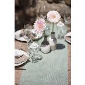 Chemin de table Plumetis Vert d'Eau Pois Blanc 5m