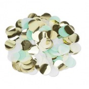 Confettis de table Papier Mint, Blanc & Or 3cm