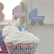 Déco à cupcake Baby Shower Rose & Bleu (x20)