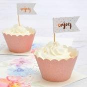 Déco à cupcake Rose Gold Pailleté (x6)