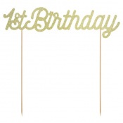 Déco gâteau Anniversaire 1st Birthday Or