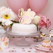 Décoration gâteau Baby Girl Rose et Or