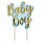 Décoration Gâteaux Baby Boy Bleu et Or
