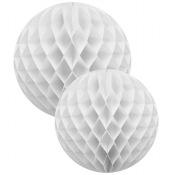 Duo Boules Alvéolées en papier Blanc (x2)