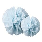 Duo Pompons Fleur de Papier de soie Bleu (x2)
