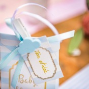 Etiquettes Baby Bleu & Blanc Pailletté (x10)