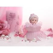 Figurine Baptême Fille Rose