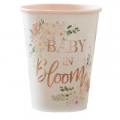 Gobelets carton floral Baby in Bloom (x4)