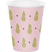 Gobelets en carton Ananas Rose & Or (x4)