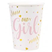 Gobelets en carton Baby Girl Rose (x5)