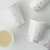 Gobelets en carton Blanc Etoiles Argent (x4)