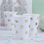 Gobelets en carton Blanc & Pois métallisé Or (x8)