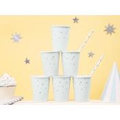 Gobelets en carton Bleu Pastel Etoile Argent  (x6)