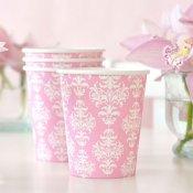 Gobelets en carton Damassés Rose (x6)