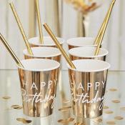 Gobelets en carton Happy Birthday Blanc & Or (x4)