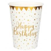 Gobelets en carton Happy Birthday Or (x5)