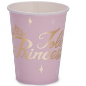 Gobelets en carton Jolie Princesse Rose & Or (x4)