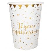 Gobelets en carton Joyeux Anniversaire Or (x10)