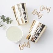Gobelets en carton Oh Baby Or (x8)