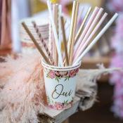 Gobelets en carton Oui floral & Or (x8)