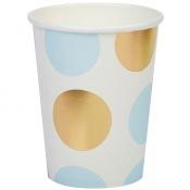 Gobelets en carton à pois bleu et or (x8)