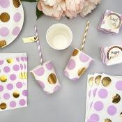 Gobelets en carton à Pois Mauve & Or (x4)