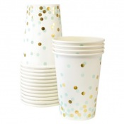 Gobelets en carton Pois Mint & Or (x6)