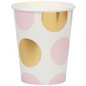 Gobelets en carton à pois rose et or (x4)