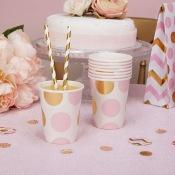 Gobelets en carton à pois rose et or (x8)