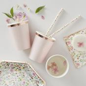 Gobelets en carton Pois Rose Gold & Rose Pastel (x8)