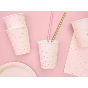 Gobelets en carton Pois Rose & Or (x6)