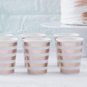 Gobelets en carton rayure rosé or (x4)