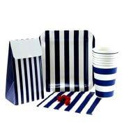 Gobelets en carton Rayures Bleu Marine (x6)