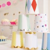 Gobelets en carton Rayures Jaunes Meri Meri (x4)