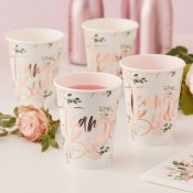 Gobelets en carton Team Bride Floral Rose Gold (x4)