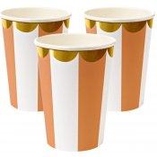 Gobelets Rayures Orange Corail Meri Meri (x8)