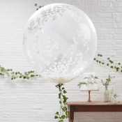 Grand Ballon Latex Transparent Confettis Blanc