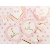 Grandes Assiettes en carton 1st Birthday Rose & Or (x4)