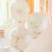 Grands Ballons confettis Pêche & Or (x3)
