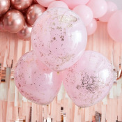 Grands Ballons Confettis Rose Gold & Or (x3)