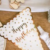 Guirlande 10 Fanion Happy Birthday Pois Blanc & or