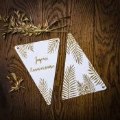 Guirlande 5 Fanions Fougères Joyeux Anniversaire Or