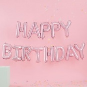 Guirlande Ballon Aluminium Happy Birthday Rose Pastel