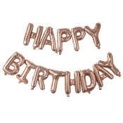 Guirlande Ballon Aluminium Mylar Happy Birthday Rose Gold