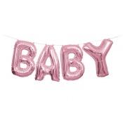 Guirlande Ballon Mylar Aluminium Rose Métallisé BABY