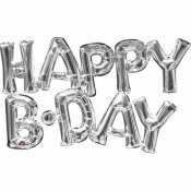 Guirlande Ballon Mylar Argenté Happy B.Day